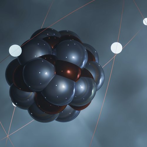 3D illustration of an atom in different colors